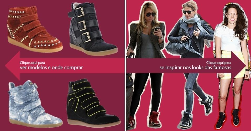 Clique na seta da esquerda para ver modelos de sneakers e na da direita para se inspirar nos looks das famosas
