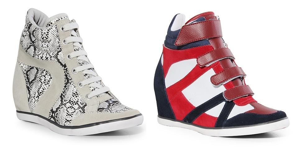 Tênis com salto embutido com estampa de cobra e em vermelho, branco e azul; R$ 159,90 cada, na Coca-Cola Shoes (Tel.: 54 3285-2600). Preço pesquisado em agosto de 2012 e sujeito a alterações