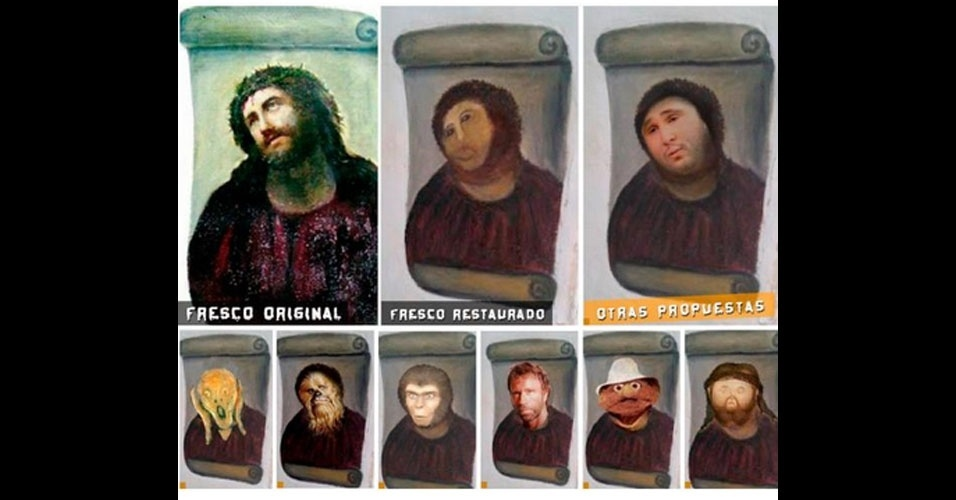 Ago 2012 a restauração infeliz na pintura ecco homo ganhou
