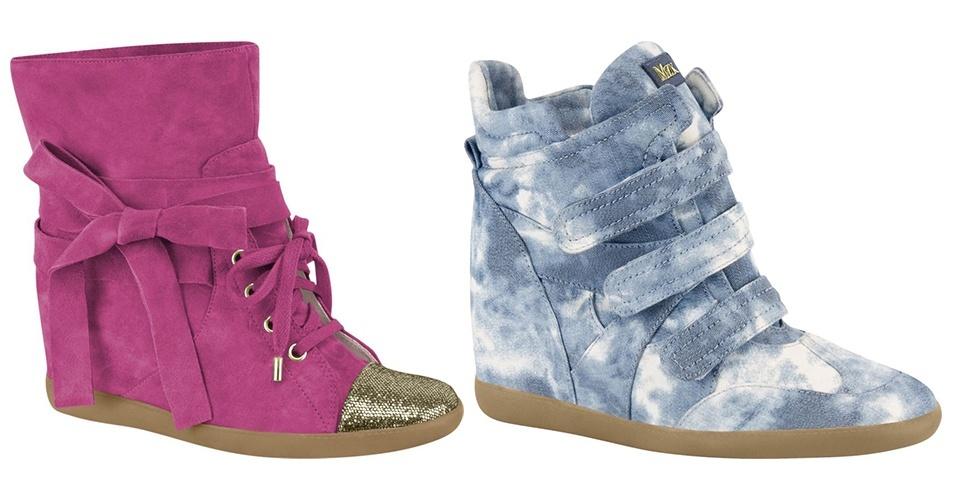 Tênis com salto embutido rosa com bico dourado e de jeans lavado; R$ 389 e R$ 379, respectivamente, na Miezko (www.miezko.com). Preço pesquisado em agosto de 2012 e sujeito a alterações
