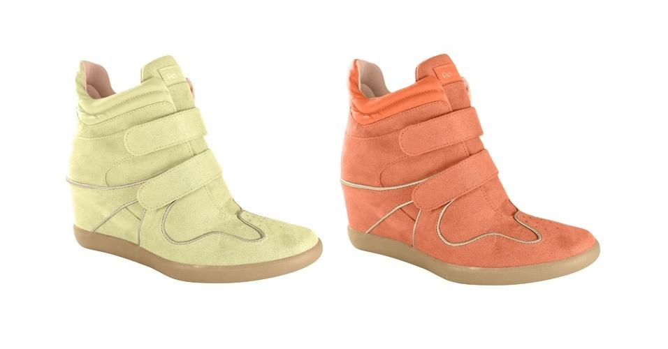 Tênis com salto embutido em cores doces; R$ 169,90, na Petite Jolie (www.sandaliaspetitejolie.com). Preço pesquisado em agosto de 2012 e sujeito a alterações