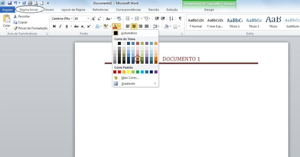 4 ? Com o texto do cabeçalho selecionado você pode alterar a cor da fonte indo até a aba Página Inicial> grupo Fonte. Lá, selecione a cor desejada