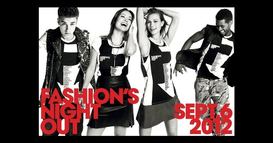 Agosto: Justin Bieber, Karlie Kloss e Usher estrelam a campanha da edição de 2012 do Fashion's Night Out