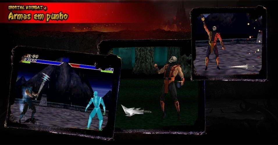 """Apesar de rústico, """"Mortal Kombat 4"""" estreou um sistema de armas, que seriam refinados nos games seguintes"""