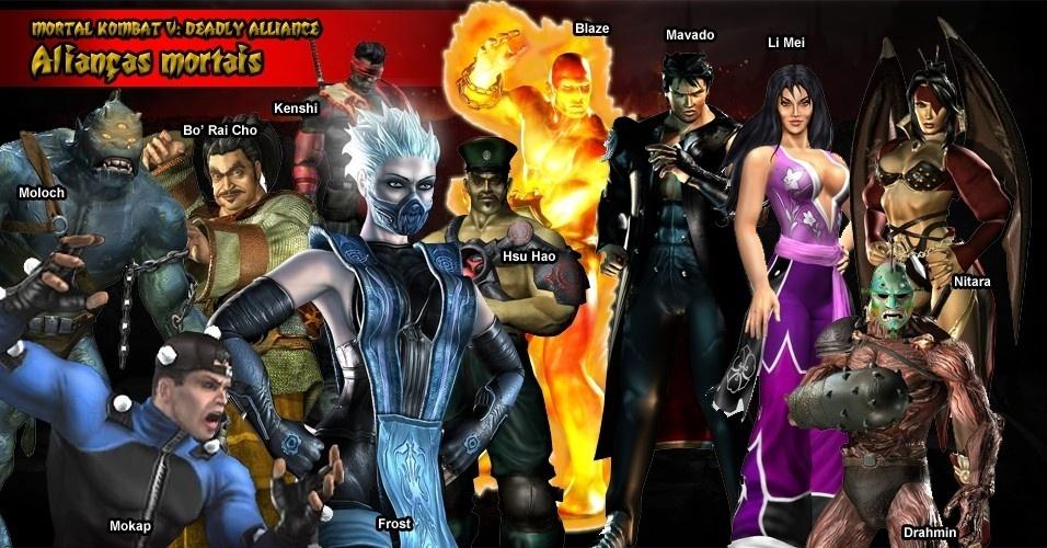 """""""Deadly Alliance"""" trouxe diversas caras novas, como Frost, que é basicamente uma versão feminina de Sub-Zero, e Blaze, um personagem que aparecia na fase Pit de """"Mortal Kombat II"""". Um dos mais inusitados é Mokap, um ator que grava movimentos para personagens virtuais, ou seja, exatamente como o jogo é feito"""