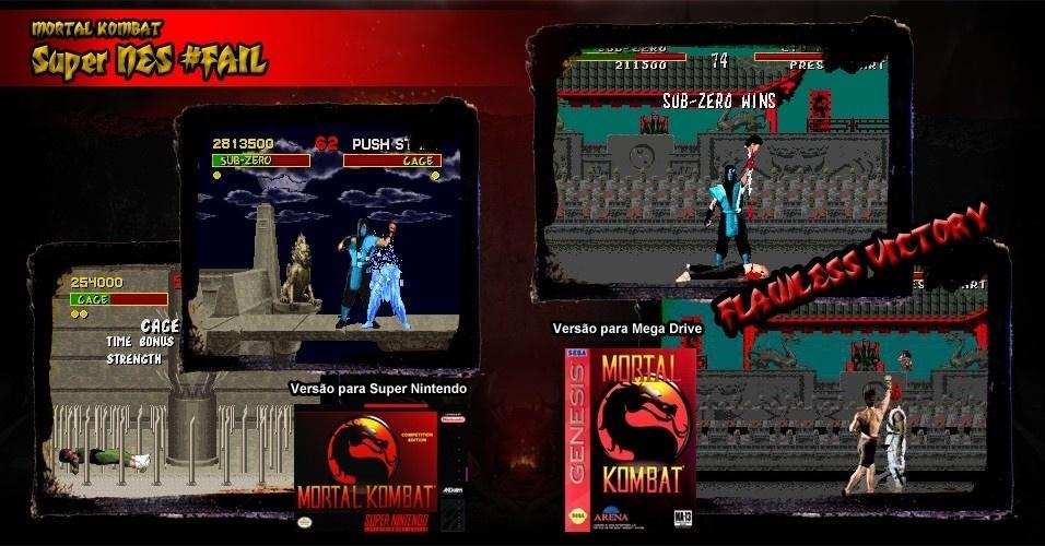 """Em 13 de setembro de 1993, """"Mortal Kombat"""" foi lançado para consoles. A versão para Mega Drive tinha censura, mas um código liberava toda a violência do fliperama. Já no Super NES não havia uma gota de sangue ou desmembramento - a Nintendo queria jogos para toda a família. Resultado: uma grande vitória da Sega"""