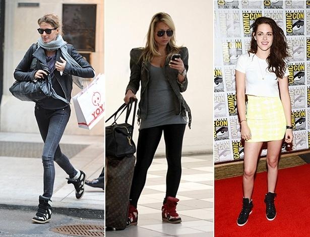 Gisele Bündchen e Sabrina Sato usam o tênis com salto embutido Isabel Marant, já Kristen Stewart foi ao Comic Con usando um modelo Barbara Bui