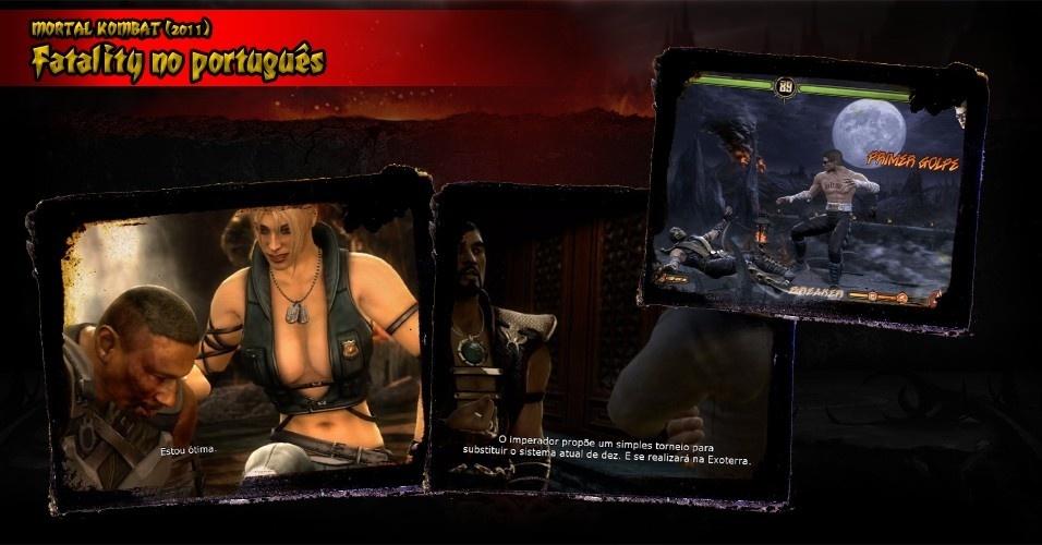 """""""Mortal Kombat"""" (2011) foi o primeiro da série a trazer legendas em português. Legal. Porém, quando o jogo chegou, veio com erros ortográficos (""""primer golpe"""", em vez de """"primeiro""""), de contexto (numa cena, o fortão Jax diz que está """"ótima"""") e termos que talvez não fosse melhor traduzir (Outworld virou Exoterra). Uma correção foi prometida, mas nunca cumprida"""