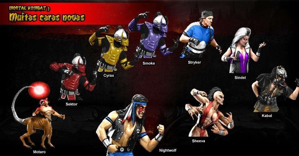 """""""Mortal Kombat 3"""" introduziu personagens como os ninjas cibernéticos Cyrax e Sektor, além de Sindel, esposa de Shao Khan, e o centauro Motaro"""