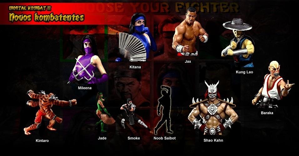 """""""Mortal Kombat II"""" trouxe muitos novos lutadores e dois novos chefes, Kintaro e Shao Kahn. Três personagens femininas - Kitana, Mileena e Jade - substituíram Sonya Blade"""