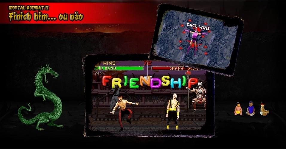 """Os Fatalities continuaram violentos como antes, mas, foram introduzidos """"golpes finais"""" como os Friendships (o lutador faz uma performance engraçada) e ou Babalities (transforma o oponente num bebê). Foi o início dos Fatalities-piada em """"Mortal Kombat"""""""