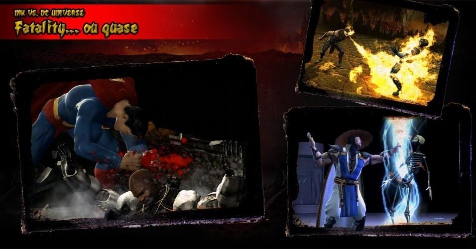 """Por inúmeras razões, a violência de """"Mortal Kombat vs. DC Universe"""" foi atenuada. Não há desmembramentos ou decapitações e os mocinhos da DC sequer aplicam Fatalities, apenas """"brutalidades heroicas"""", que não mata os oponentes"""