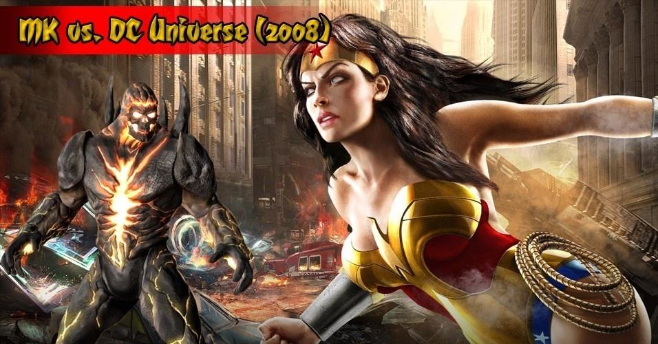 """Se a rival Capcom teve parceria com a editora Marvel, os caras de """"Mortal Kombat"""" foram buscar na DC Comics o parceiro ideal para o primeiro crossover da série de luta. """"MK vs. DC Universe"""" foi lançado para PlayStation 3 e Xbox 360"""
