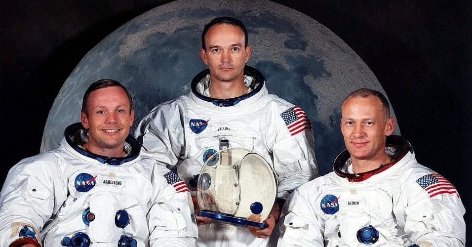 Foto de arquivo da Nasa, tirada em maio de 1969, dos tripulantes da missão Apollo 11. Nela estão: Neil A. Armstrong (e), Michael Colilns © e Edwin Aldrin Jr