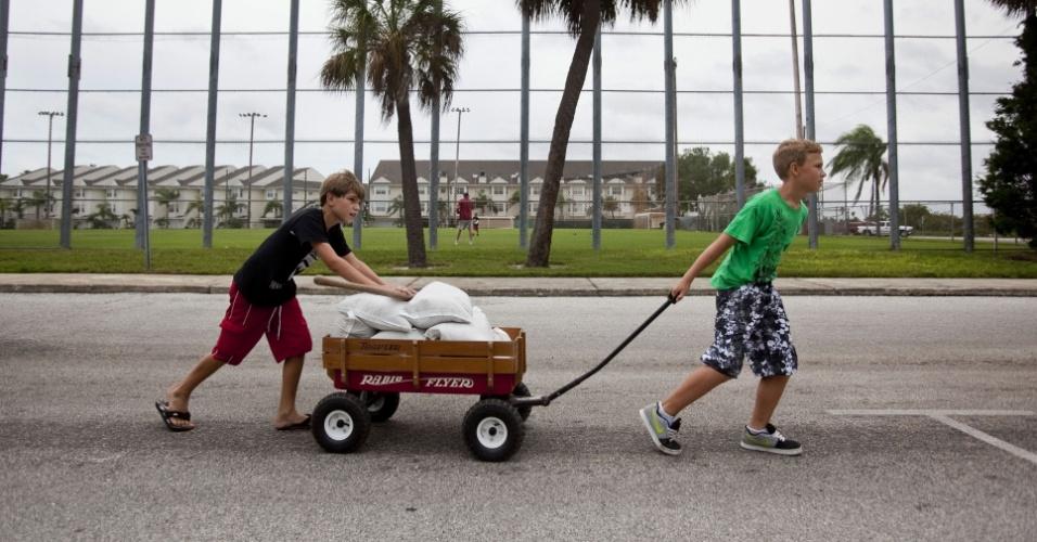 26.ago.2012 - Os americanos Andrew Marino (esq.) e Colby Collier carregam sacos de areia para conter uma possível inundação de água em suas casas. Eles moram em St. Pete Beach, na Flórida ? região que deve ser afetada pela proximidade da tempestade tropical Isaac