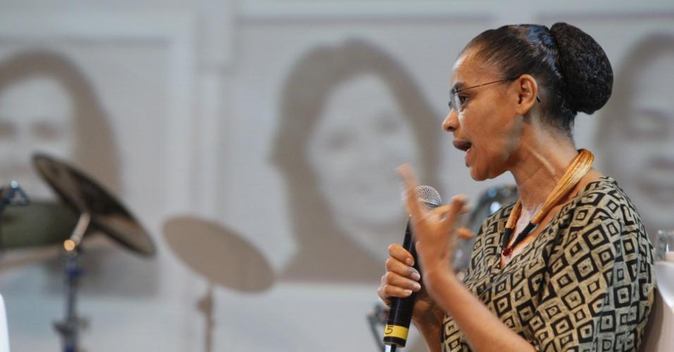 27.ago.2012 - A ex-senadora e ex-ministra do Meio Ambiente, Marina Silva, participa do 3º Fórum Nacional da Mulher Contabilista, durante o 19º Congresso Brasileiro de Contabilidade, no Hangar, Centro de Convenções e Feiras da Amazônia, em Belém, capital do Pará