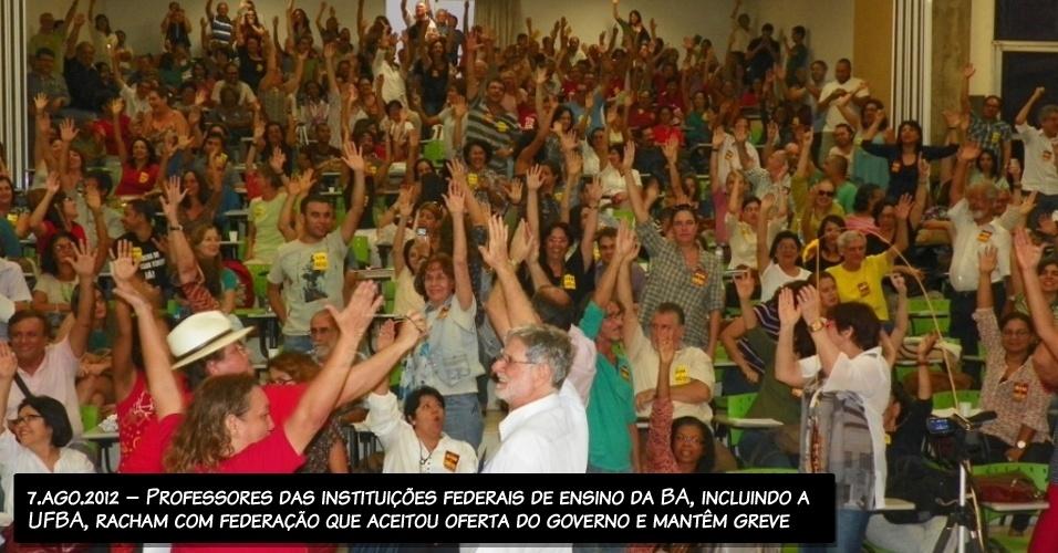 7.ago.2012 - Professores das instituições federais de ensino da BA, incluindo a UFBA, racham com federação que aceitou oferta do governo e mantêm greve