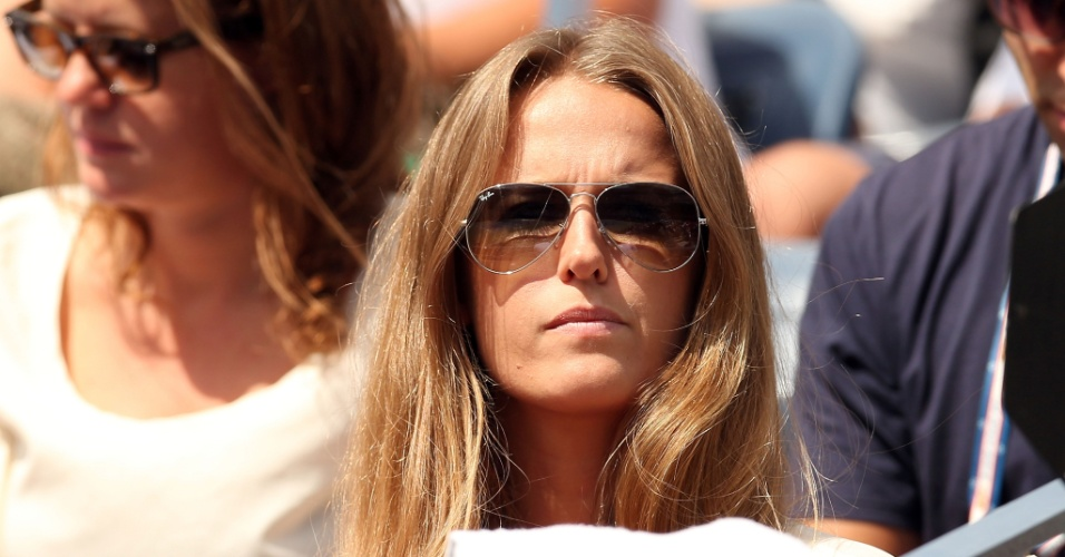 27.ago.2012 - Kim Sears acompanha a partida entre seu namorado, Andy Murray, e Alex Bogomolov Jr. pelo Aberto dos EUA