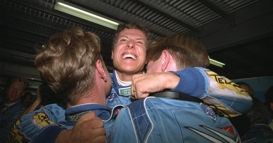 Michael Schumacher comemora seu primeiro título mundial
