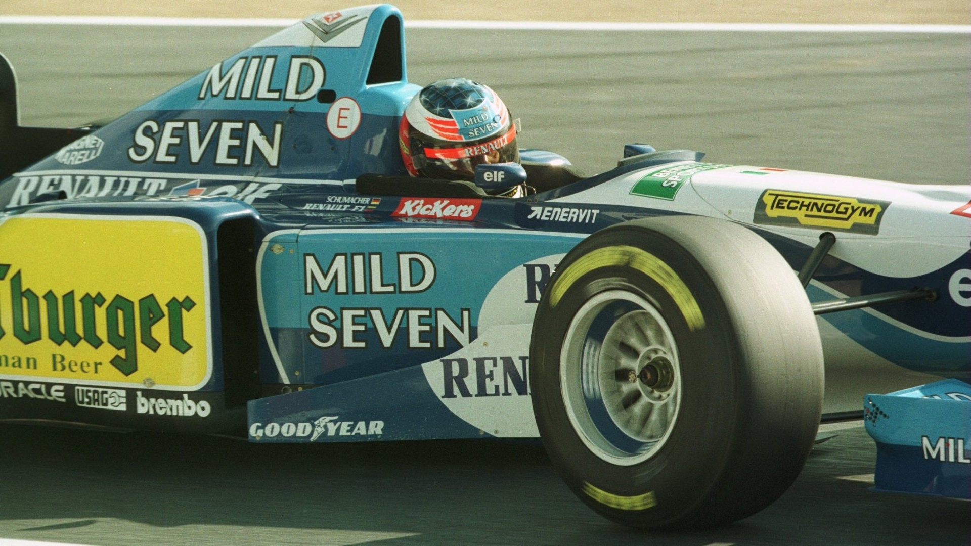 Michael Schumacher em ação no GP do Pacífico de 1995