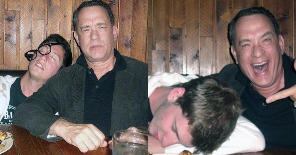 Um fã do ator americano Tom Hanks postou em seu blog imagens de seu encontro com o ator em um restaurante em Nova York.