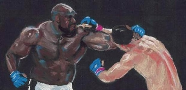 Duelo entre Bob Sapp e Rodrigo Minotauro, no Pride, j virou at pintura, pelo artista Brad Utterstrom