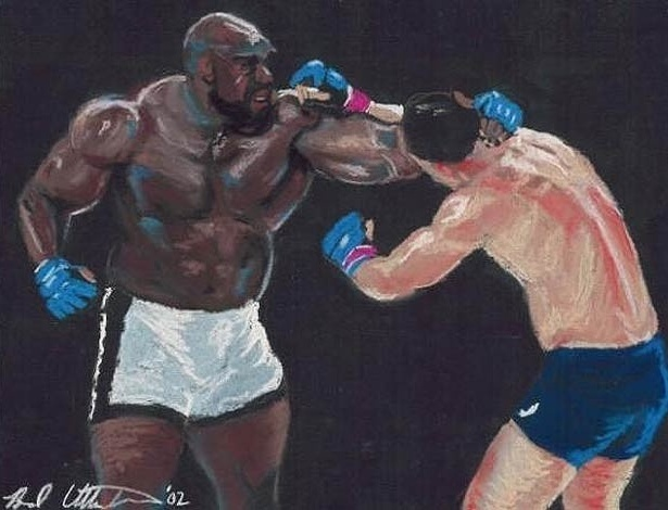 Duelo entre Bob Sapp e Rodrigo Minotauro, no Pride, já virou até pintura, pelo artista Brad Utterstrom