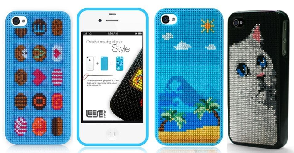 Esqueça o pano de prato e a toalha de banho. A empresa sul-coreana Leese Design criou capas de iPhone com estrutura para o usuário fazer bordados em ponto cruz. A capa lisa (só com os furinhos) custa US$ 18 (cerca de 36), enquanto os modelos acima, que já vêm com a imagem estampada, custam US$ 48 (cerca de R$ 96)