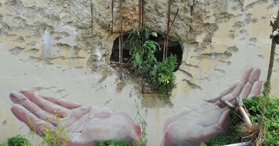 29.ago.2012 - Plantas crescem em buraco de vila na ilha sulcoreana de Yeonpyeong