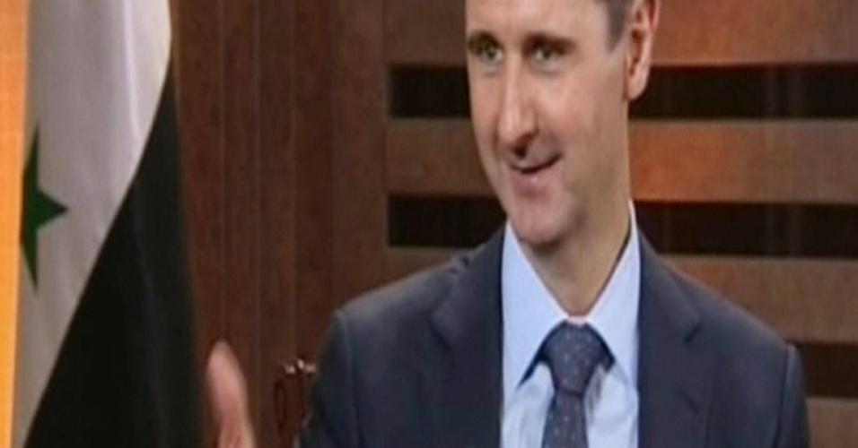 29.ago.2012 - Presidente sírio Bashar Assad concede entrevista em Damasco à emissora de TV pró-regime Addounia. Na entrevista, que será transmitida nesta quarta-feira (29), Assad diz que o país precisa de mais tempo para vencer batalha travada em toda a Síria