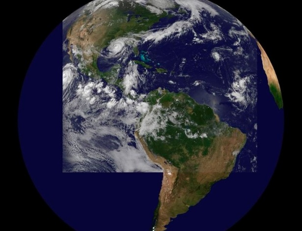 29.ago.2012 - Imagem de satélite feita pela NASA mostra a movimentação do furacão Isaac pelo Golfo do México após passar por Louisiana (EUA), nesta quarta-feira (29)