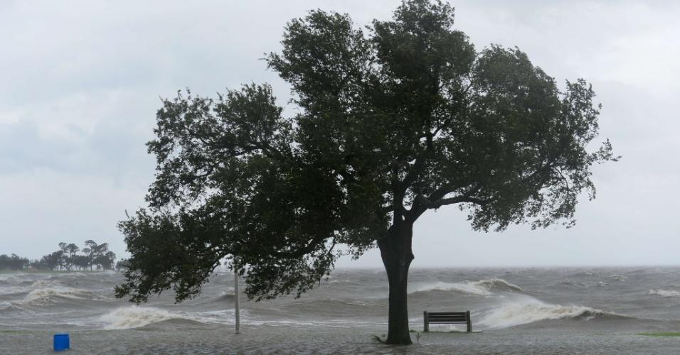 29.ago.2012 - Ventos fortes agitam o mar de Pontchartrain, em Nova Orleans (EUA), durante a passagem do furacão Isaac, nesta quarta-feira (29). Além de fortes tempestades, o furacão provocou ondas que chegaram a medir mais de dois metros de altura