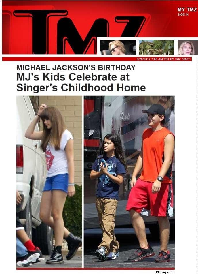 Filhos de Michael Jackson visitam casa onde o astro viveu na infância (29/8/12)