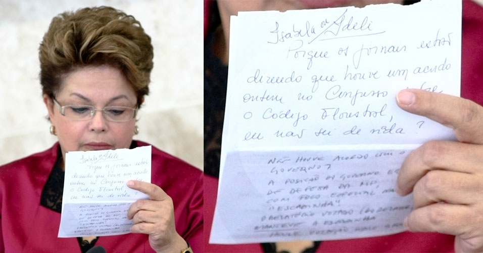 Presidente Dilma Rousseff participa no Pal&#225;cio do Planalto, da 39&#170; reuni&#227;o Ordin&#225;ria do Pleno do Conselho de Desenvolvimento Econ&#244;mico e Social ? CDES. Presidente Dilma escreveu um bilhete (parte de cima) para as ministras Ideli Salvati e Izabella Teixeira, porque os jornais estao anunciando um acordo no Congresso Nacional sobre o codigo florestal e ela nao esta sabendo de nada. A ministra Izabella Teixeira respondeu (parte de baixo do bilhete)