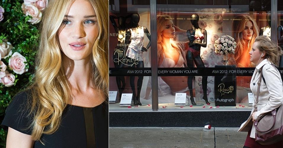 Rosie Huntington-Whiteley lança coleção de lingerie em parceria com a loja Marks & Spencer, em Londres (30/08/2012)