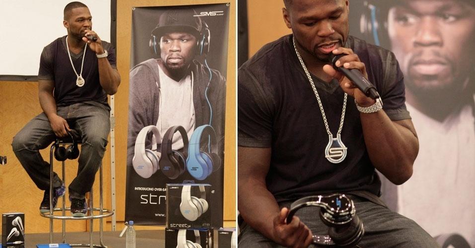 31.ago.2012 - Rapper 50 Cent apresentou na quinta-feira (30) fone de ouvido da marca SMS, que leva o nome do músico
