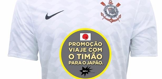 Camisa do Corinthians com o patrocínio Viaje com o Timão para o Japão