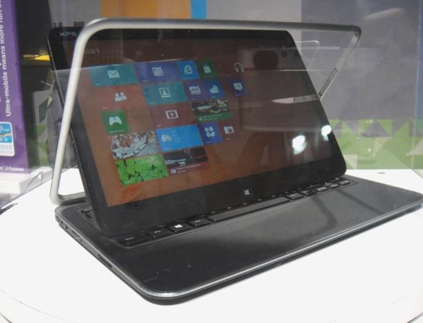 Com Windows 8, o Dell XPS Duo 12 ainda não pôde ser testado pelo público da IFA. Atrás do vidro, é possível ver a moldura na qual a tela é rotacionada e não é destacada por completo do conjunto.