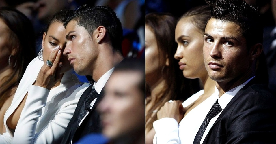 Ago.2012 - Craque portugus Cristiano Ronaldo e sua namorada, a modelo Irina Shayk, no sorteio dos grupos da Liga dos Campees