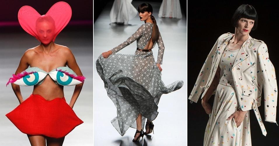 Modelos desfilam criações de Agatha Ruiz de la Prada, Juanjo Oliva e David Delfin na semana de moda de Madri, Espanha. De la Prada investiu na irreverência e levou modelos bem-humorados e conceituais à passarela (31/08 e 01/09/2012)