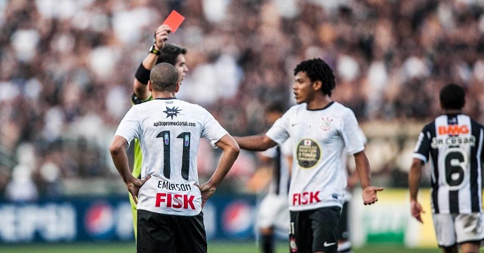 Émerson Sheik foi expulso na vitória do Corinthians diante do Atlético-MG por 1 a 0