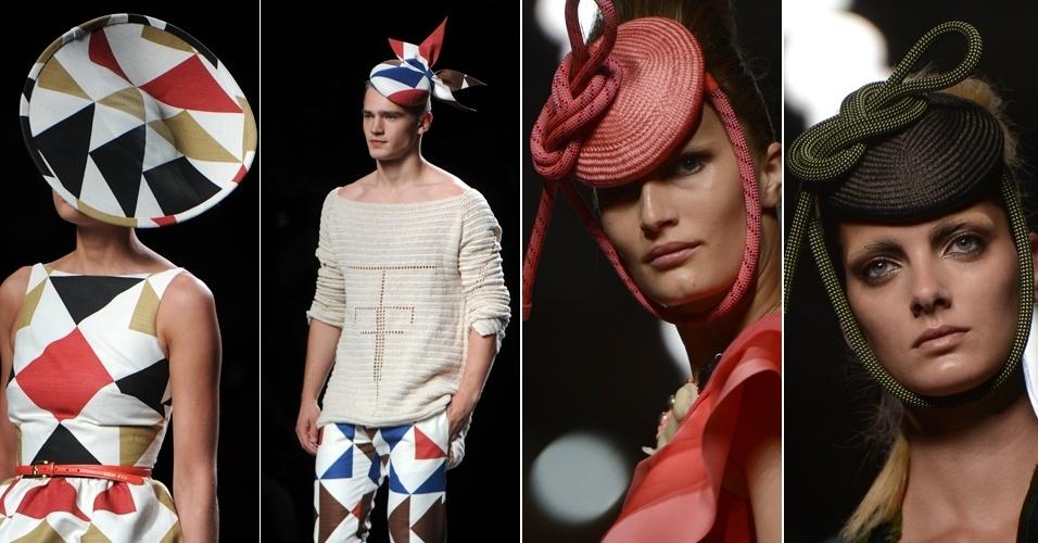 Estilistas Ion Fiz e Ana Locking desfilam looks com chapéus na semana de moda de Madri, Espanha (02/09/2012)