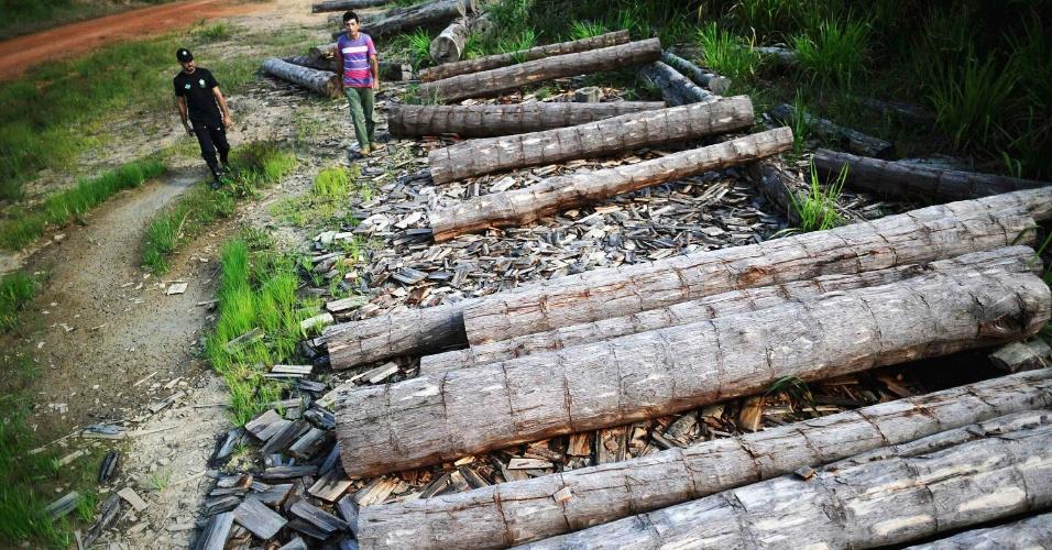 04.set.2012 [ foto de arquivo] - Agente do Incra (Instituto Nacional de Colonização e Reforma Agrária) apreende madeira extraída ilegalmente da Amazônia