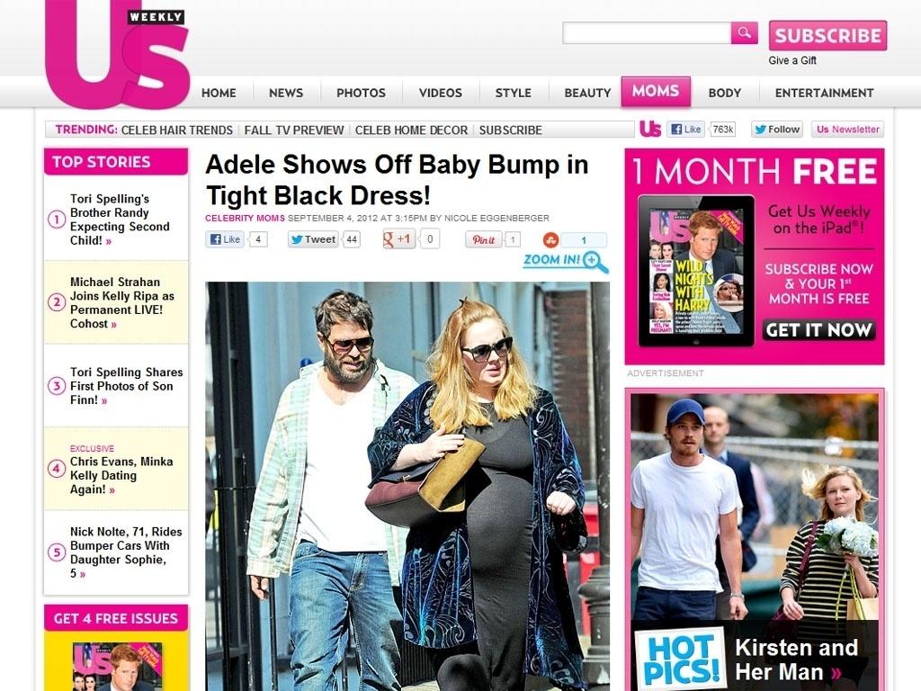 De vestido justo, Adele mostra barriga de grávida (4/9/12)