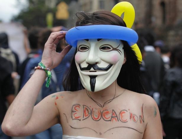 Estudantes e docentes participaram de um protesto nacional, nesta quarta-feira (5), na Colômbia, contra a proposta de reforma do sistema público de educação
