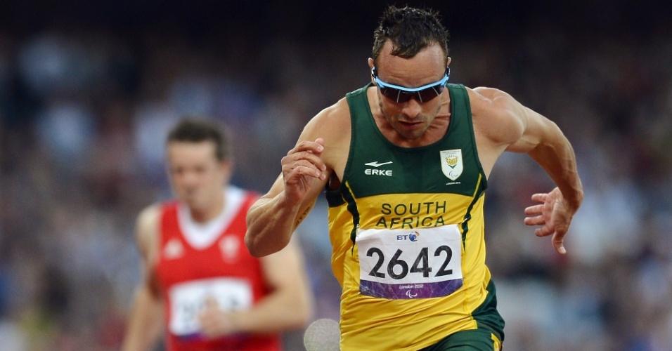Sul-africano Oscar Pistorius durante eliminatória dos 100 m T44, ele foi o primeiro colocado da prova