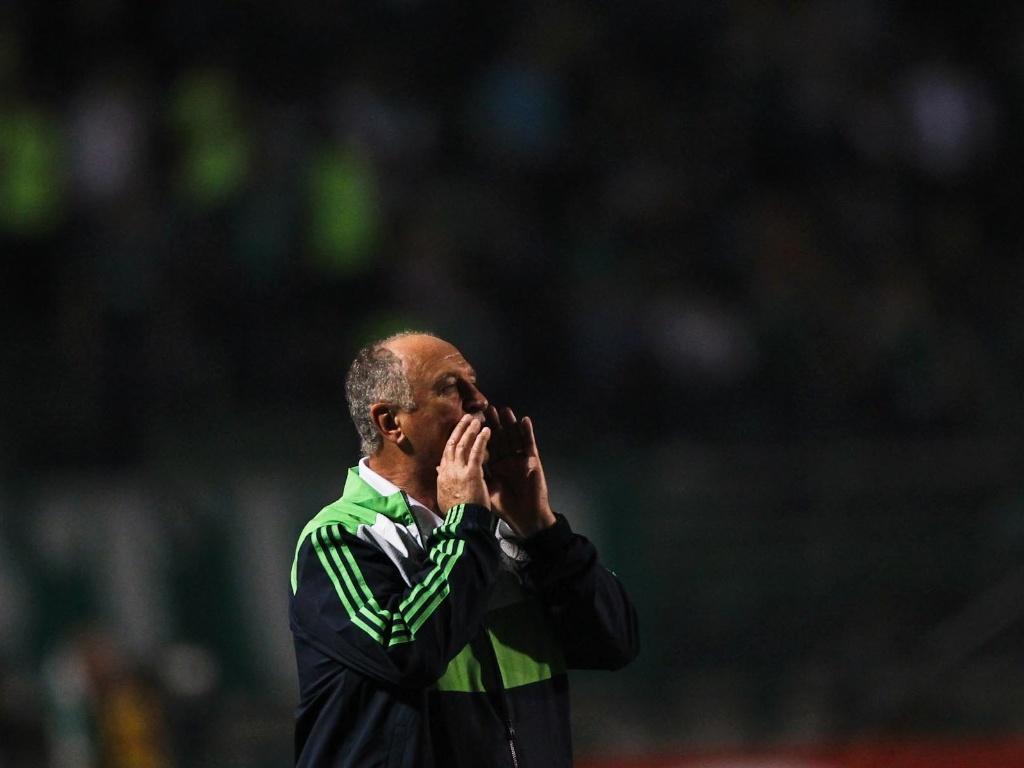Felipão, técnico do Palmeiras, grita com seus jogadores durante a partida contra o Sport, no Pacaembu