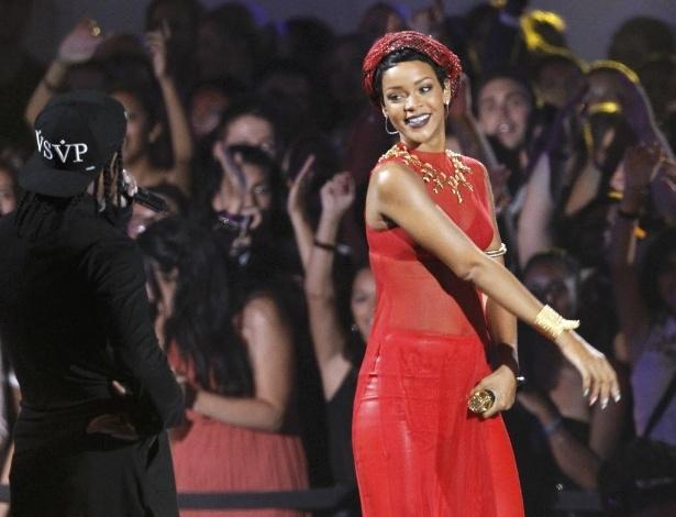 """Rihanna faz apresentação da música """"Cockiness"""" durante o MTV Video Music Awards 2012 em Los Angeles"""