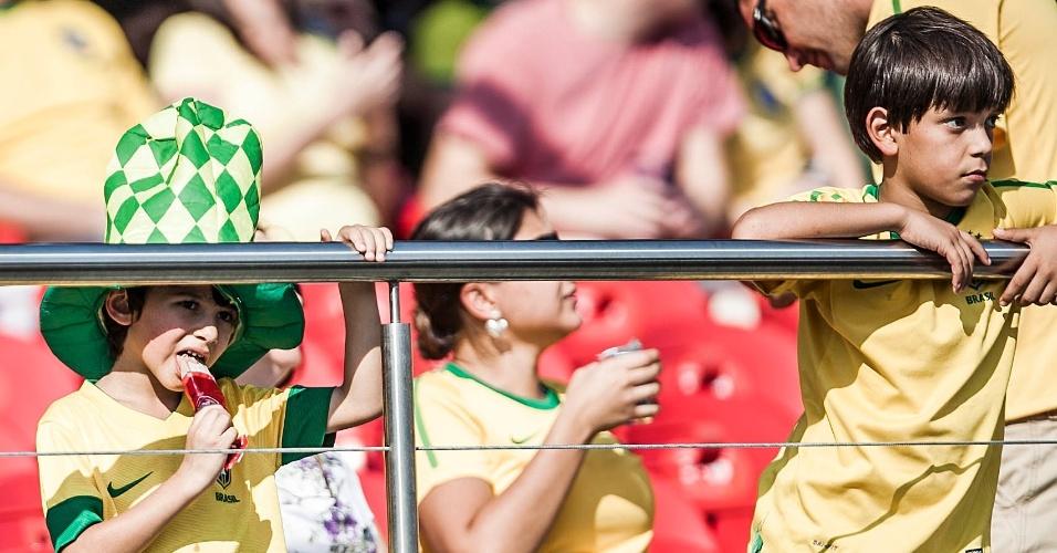 Crianças marcaram presença no Morumbi para ver a seleção brasileira