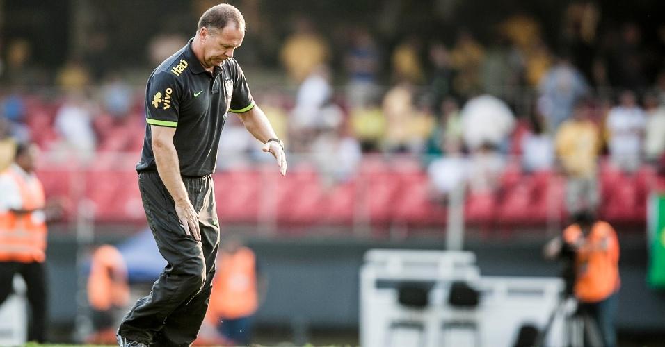 Mano Menezes deixa o campo no intervalo do jogo Brasil x África do Sul